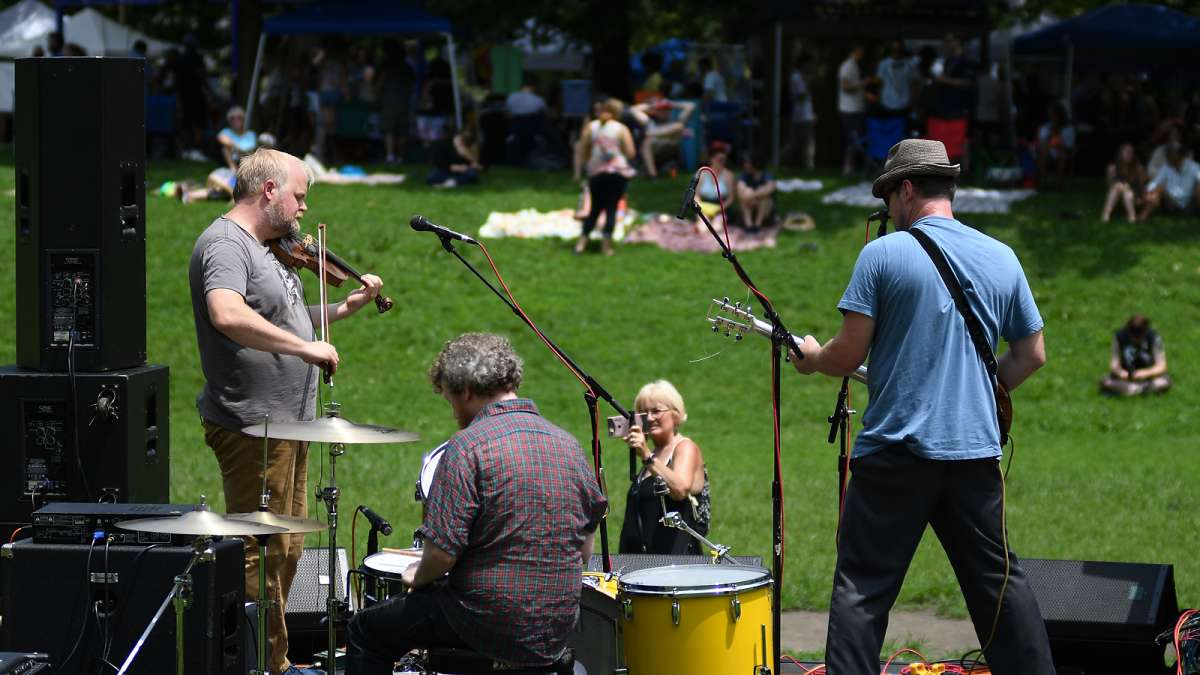 The Deadeyes perform on stage during the annual Clark Park Festival in West Philadelphia