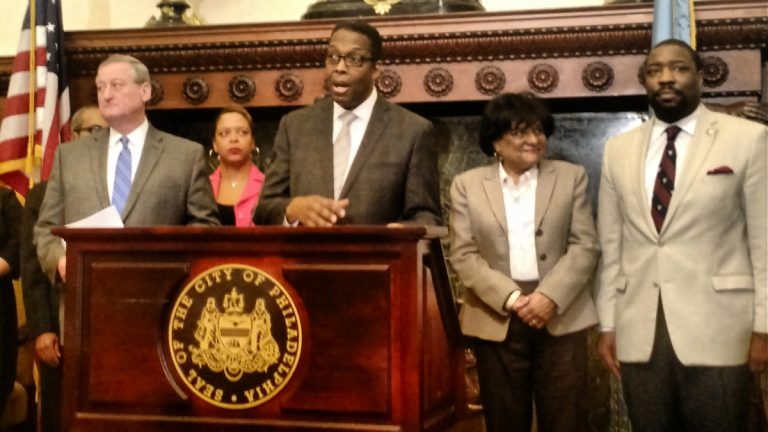 Philadelphia City Council President Darrell Clarke unveils details of his promised plan for 10,000 green jobs. (Katie Colaneri/WHYY)