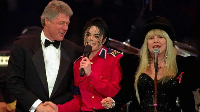 President-elect Clinton joins Michael Jackson and Stevie Nicks, of Fleetwood Mac, as they sing