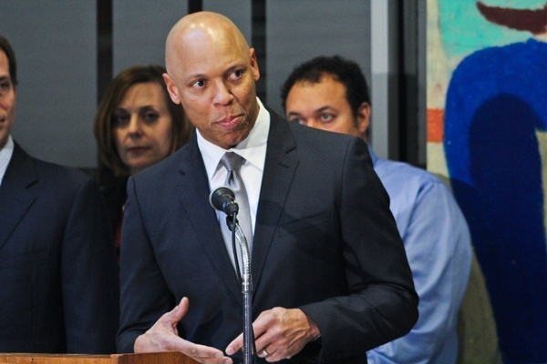 <p><p>Superintendent William R. Hite speaks at a press conference following the recommendation of 37 public school building closures in Philadelphia. (Kimberly Paynter/for NewsWorks)</p></p>