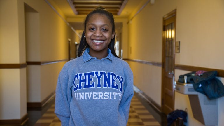 Sharell Reddin is the president of the Student Government Association. Cheyney University celebrates its 180th anniversary under a cloud of uncertainty as the state system does a strategic review of the HBCU and other colleges, which could include merging or even closing the university. (Emily Cohen for NewsWorks)