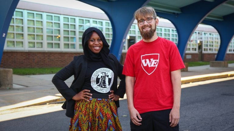 Keziah Ridgeway and Charlie McGeehan are teachers in the School District of Philadelphia who believe educators and students should confront white supremacy by talking about the racially charged events like the Ku Klux Klan rally in Charlottesville, Virginia. (Emily Cohen for NewsWorks)
