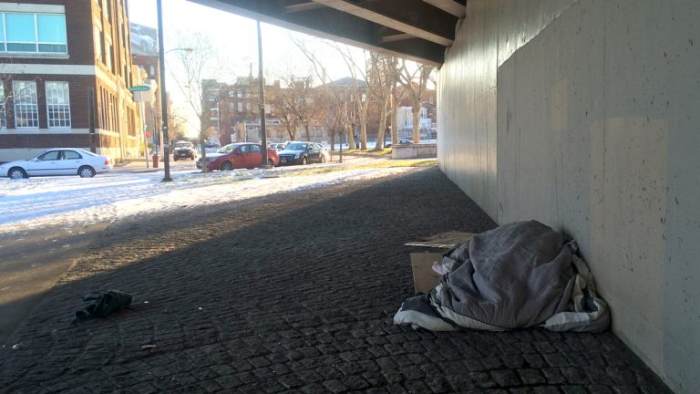 A homeless person finds some shelter under the 676 overpass near North Sixth Street. (Emma Lee/WHYY)