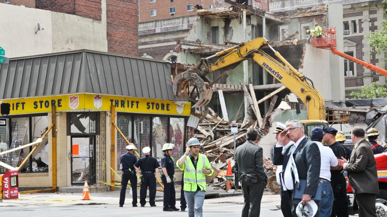 The June 5 collapse of a Center City Philadelphia building left six people dead. (Kimberly Paynter/WHYY)