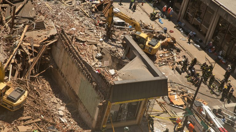 The building at 2136 Market St. in Center City Philadelphia collapsed June 5, killing six people and injuring 14. (Lindsay Lazarski/WHYY)
