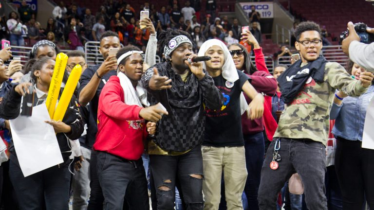 The rapper Wale performs for college-bound seniors from Philly public school. (Kimberly Paynter/WHYY)