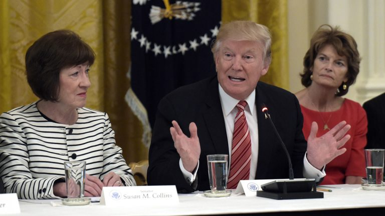 President Donald Trump, center, meets with Republican senators on health care in the East Room of the White House in Washington, Tuesday, June 27, 2017. Sen. Susan Collins, R-Maine, left, and Sen. Lisa Murkowski, R-Alaska, right, both voted against repealing the Affordable Care Act on Thursday night. (AP Photo/Susan Walsh)