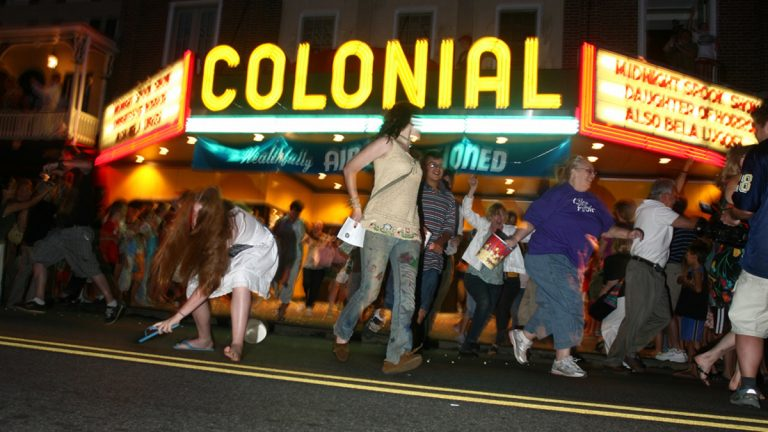 Participants in the annual Blobfest festival run screaming from the Colonial Theatre in Phoenixville, Pa. The exodus is a re-enactment of a pivotal scene from the 1958 horror-sci-fi film