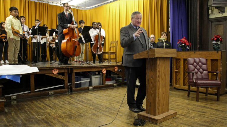 Mayor Jim Kenney puts in an appearance at Southwark School in South Philadelphia