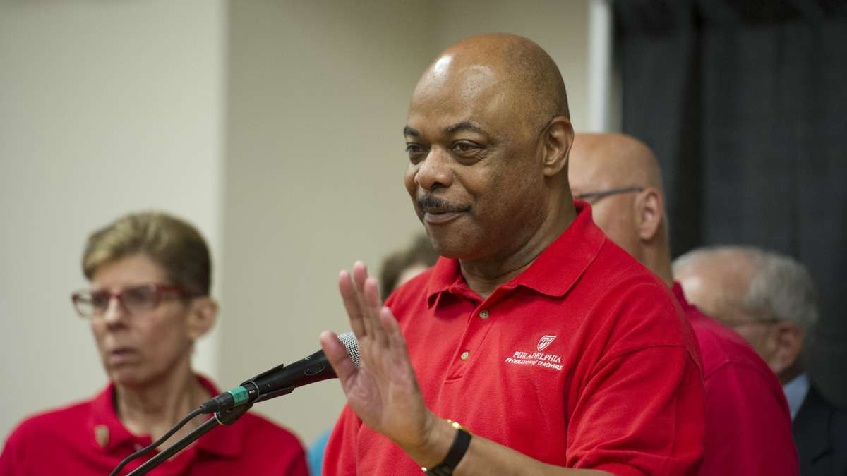 Union president Jerry Jordan speaks to the press after the Philadelphia Federation of Teachers voted to approve a new contract.