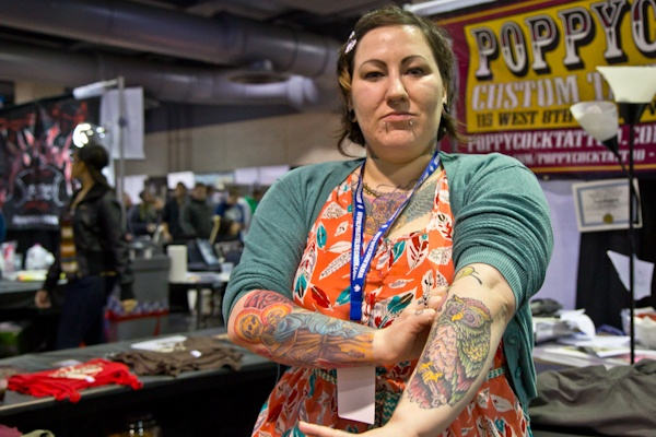 Tina Marabito, a tattoo artist from Wilmington, Del. has been tattooing for five years.  (Kimberly Paynter/WHYY)