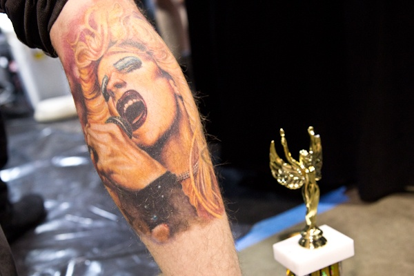 Dave Schaefer who lives in the Tacony section of Phila. won third place in the Best Color Portrait category for his tattoo of Hedwig, from one of his favorite films. (Kimberly Paynter/WHYY)