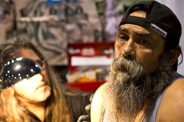 Bear, who declined to give his last name, is getting a tattoo of his son. (Kimberly Paynter/For NewsWorks)