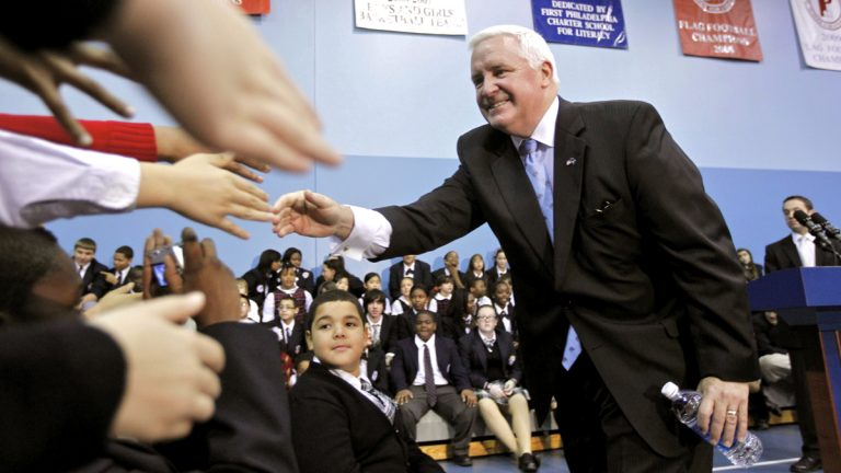 Pennsylvania Gov. Tom Corbett is shown meeting with students during a 2011 rally in support of education reform at the First Philadelphia Preparatory Charter School in Philadelphia. (AP Photo/Matt Rourke, file)