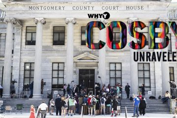 Members of the media gather gather on the steps of the Montgomery County Courthouse during jury deliberations in Bill Cosby's sexual assault trial in Norristown, Pa., Thursday, June 15, 2017. (AP Photo/Matt Rourke)