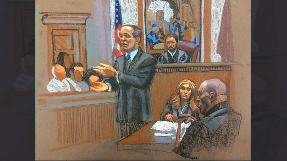 Courtroom scene from day two of the Bill Cosby trial, as drawn by sketch artist Christine Cornell (image courtesy of Christine Cornell)