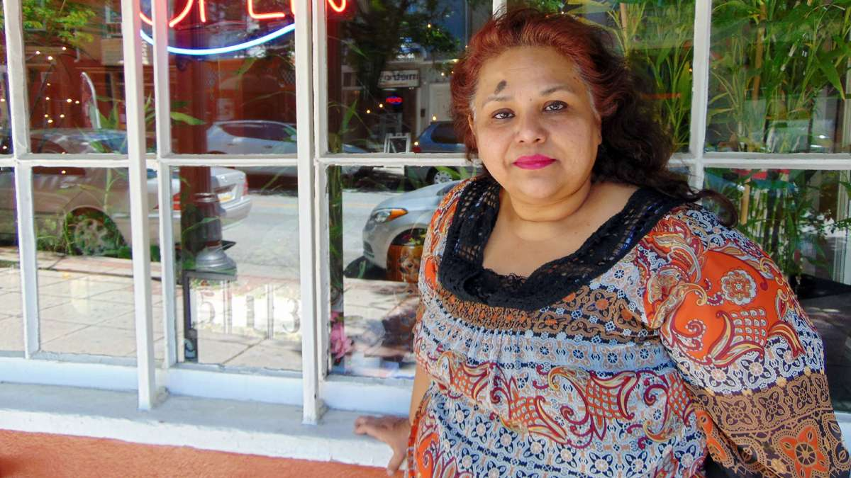 Elma Aranda stands in front of her restaurant El Rincon de Mexico on West Marshall Street in Norristown.