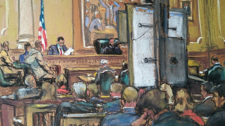 The massive Montgomery County Courthouse SMART board helps jurors see evidence, but hides the faces of the jury from most of the press. This view is from the opposite side of the room where most of the media are seated.  (Sketch by Jane Rosenberg)
