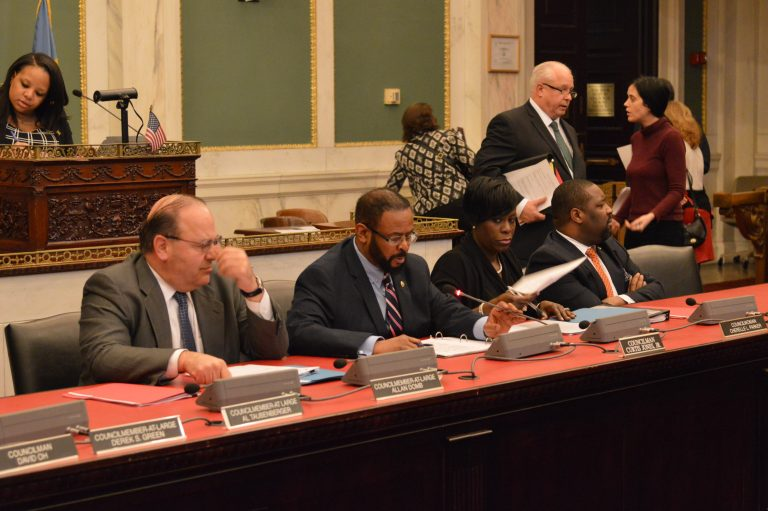 Philadelphia Council members talk discuss the best way of evaluating tax incentives the city offers. (Tom MacDonald/WHYY)