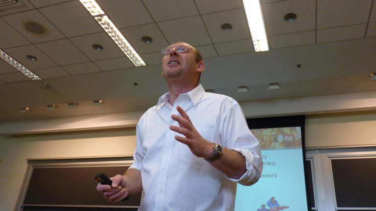 Professor Rom Schrift during a lecture in his class on creativity at The Wharton School. (Todd Bookman/WHYY)