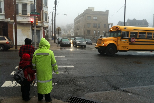 <p><p>On a rainy December day, Taylor made sure a young student was able to get safely across a busy East Chelten Ave. (Kiera Smalls/for NewsWorks)</p></p>