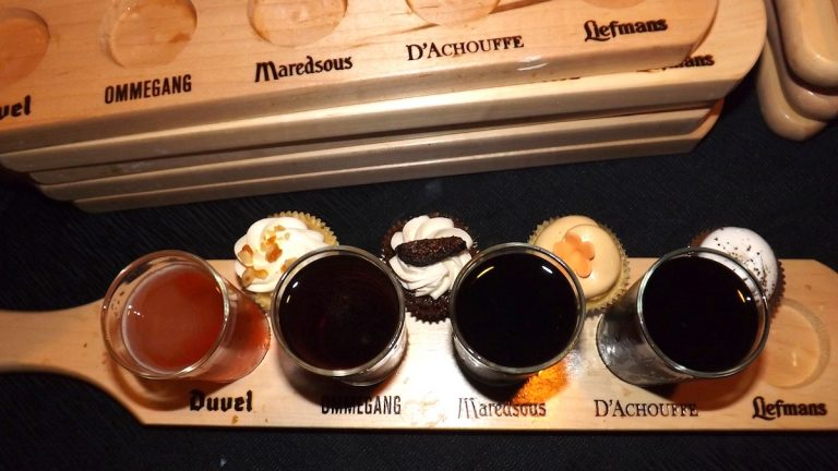Each tasting flight included four mini beers from Southern Tier Brewing Co. and four mini cupcakes from Sweet Elizabeth's Cakes. (Meg Frankowski/for NewsWorks)
