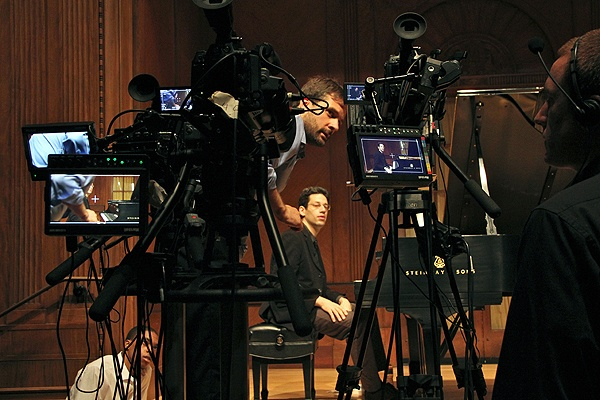 Director/producer Greg Sharrow fine tunes the placement of the three cameras he is using to make the Curtis Institute's first free online course, Exploring Beethoven's Sonatas with Jonathan Biss. (Emma Lee/for NewsWorks)