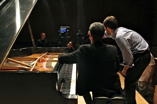 Director/producer Greg Sharrow (right) works with pianist Jonathan Biss to make the Curtis Institute's first free online course, Exploring Beethoven's Sonatas. (Emma Lee/for NewsWorks)