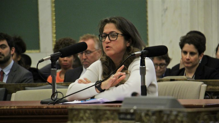Cynthia Figueroa, commissioner of the Philadelphia Department of Human Services, testifies during a City Council hearing about the detriment of collecting the costs of juvenile confinement from parents and guardians. (Emma Lee/WHYY)
