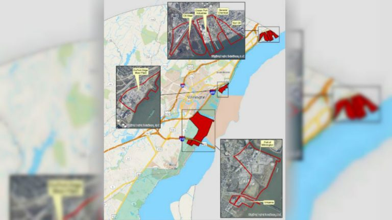 A map shows areas along the Delaware River in northern New Castle County where industrial sites are grandfathered in under the Coastal Zone Act. (DNREC photo)