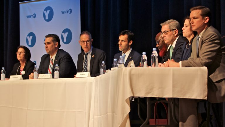 Philadelphia district attorney candidates debate at Springside Chestnut Hill Academy last month. (Emma Lee/WHYY)