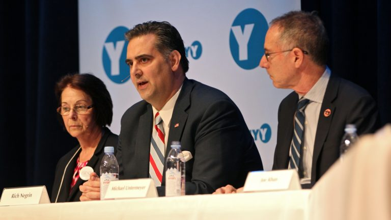 Rich Negrin speaks during a debate among the eight candidates for Philadelphia district attorney held at Springside Chestnut Hill Academy on March 23, 2017. (Emma Lee/WHYY)