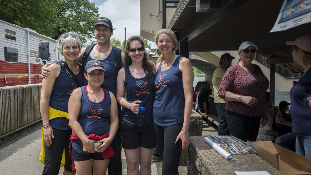 Members of the 1991 University of Virginia crew team and their coach that won the 1991 Dan Vail Regatta celebrate the 25th anniversary of their victory. Pictured: Vera Chu Conley (front); and (from left) Kit Gruver; coach Brett Wilson; Margaret Pauls; Roanne Daniels.