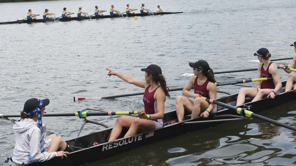 The MIT varsity lightweight team floats in the Schuylkill River during the Dad Vail Regatta.