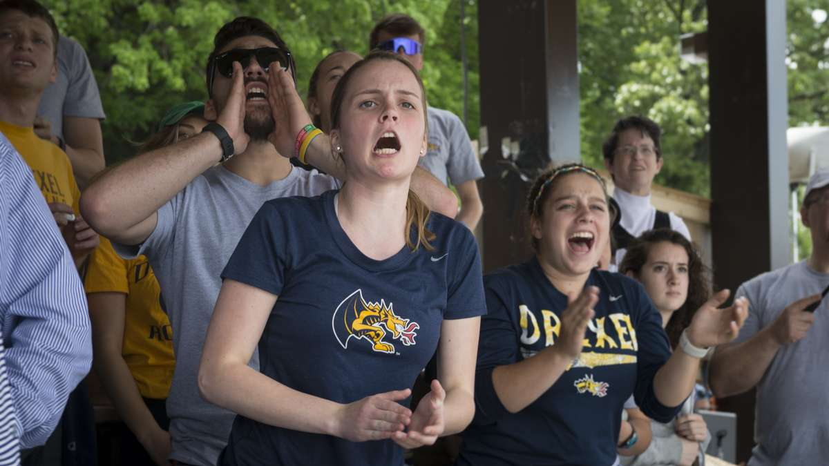Emily McGowan cheers on her boyfriend who is a member of the Drexel varsity team.