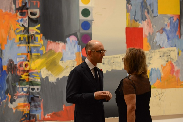 <p>&lt;p&gt;Philadelphia Museum of Art Contemporary Art curator Carlos Basualdo (left),&#xA0;and&#xA0;Constance Williams, Art Museum board chair, stand in front of the 1964 painting &quot;According to What&quot; by Jasper Johns (Photo courtesy of Kelly &amp; Massa Photography)&lt;/p&gt;</p>