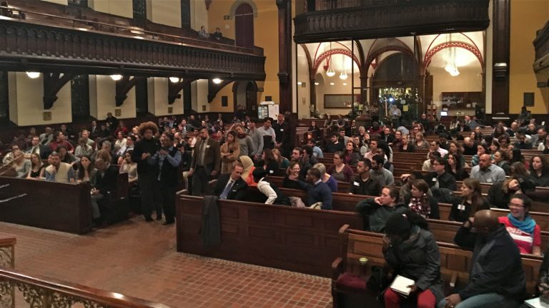 Hundreds thinking about political change pack into the Church of the Holy Trinity in Philadelphia to learn about running for office. (Dave Davies/WHYY)