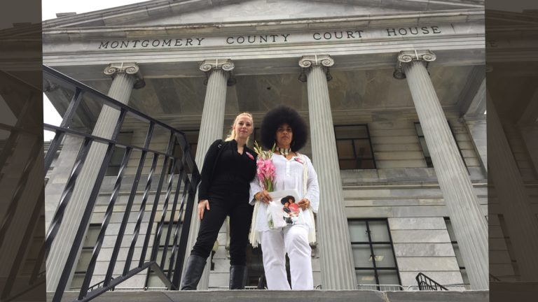 Caroline Heldman, co-chair of End Rape Statute of Limitations, on left, and Lili Bernard, a Los Angeles-based actress and artist who has accused Cosby of drugging and raping her in the early 1990s. (Dana DiFilippo/WHYY)