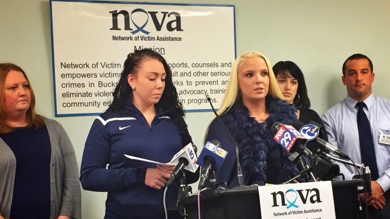 Two victims of alleged serial pedophile William Charles Thomas spoke to reporters this morning at the Network of Victim Assistance's office in Jamison, Bucks County, to urge other possible victims to come forward. The sisters, now 26 and 23, said Thomas abused them for years, starting when they were 7 and 4. (Dana DiFilippo/WHYY)