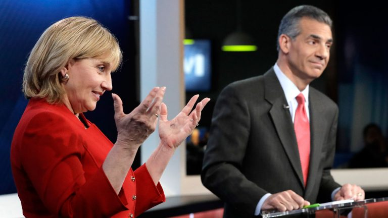 New Jersey Lt. Gov. Kim Guadagno, left, speaks as Assemblyman Jack Ciattarelli looks on during a Republican gubernatorial primary debate, Thursday, May 18, 2017, in Newark, N.J. (AP Photo/Julio Cortez, Pool)