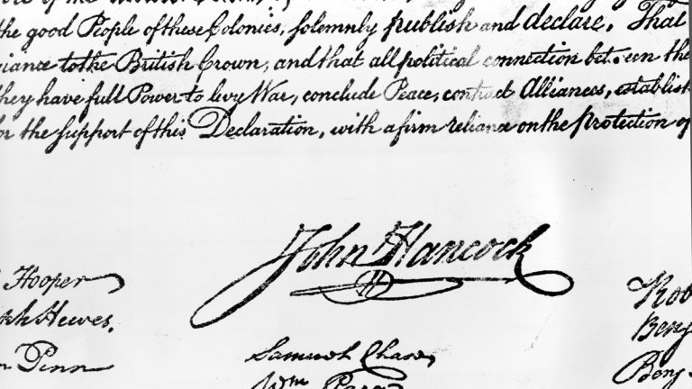 This undated file photo shows John Hancock's signature on the Declaration of Independence, which was formally signed by 56 members of Congress beginning Aug. 2, 1776. National Public Radio marked Independence Day on July 4th, 2017, by tweeting the entire declaration, but it seems some Twitter users didn't recognize what they were reading. Some of the founders' criticisms of King George III were met with angry responses from supporters of President Donald Trump, who seemed to believe the tweets were a reference to the current president. Others were under the impression NPR was trying to provoke Trump with the tweets. (AP Photo, File)
