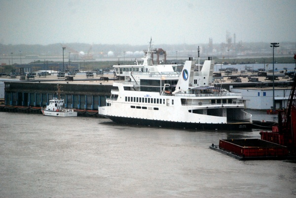 The predicted storm surge from Hurricane Irene forced the Cape May-Lewes ferry to head up the Delaware River and spend the night docked in Wilmington. (John Jankowski/for newsworks)