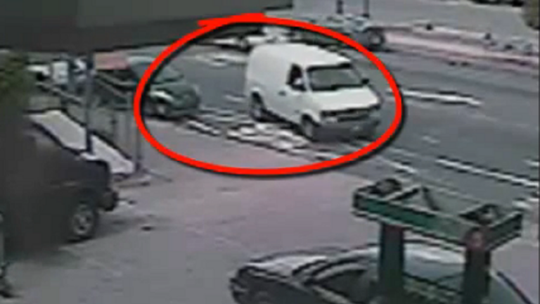 Surveillance image of the van driven by the alleged theft suspects in West Oak Lane. (Photo courtesy of Philadelphia Police)