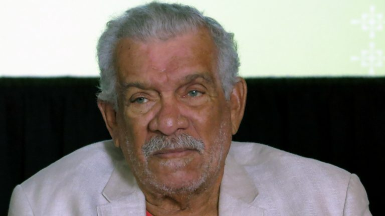 The recipient of the 1992 Nobel Prize in Literature Derek Walcott is shown at a 2014 press conference in Mexico City. (AP Photo/ Berenice Bautista, file)