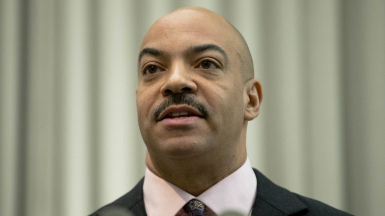 Philadelphia District Attorney Seth Williams speaks during a news conference Thursday, Jan. 22, 2015, in Philadelphia. Authorities say veteran Philadelphia homicide Detective Ronald Dove stashed his girlfriend out-of-state while colleagues sought her in the slaying of her ex-husband.  Dove has been indicted Thursday on charges that include obstruction, evidence tampering, flight and conspiracy. (Matt Rourke/AP Photo)