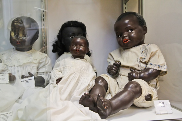 "<p><p>""Big Boy"" is a German baby doll that Whiteman says is favored by many doll museum visitors for his filrtatious eyes. (Kimberly Paynter/for NewsWorks)</p></p>"