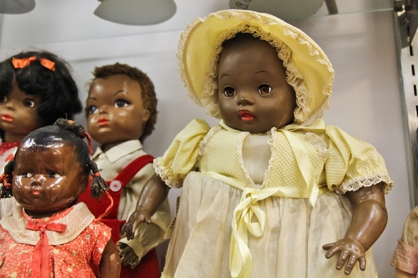 "<p><p>Barbara Whiteman says that ""Saralee,"" from the 1950s, was the first doll designed to have actual ethnic features and not just a dark skin color. (Kimberly Paynter/for NewsWorks)</p></p>"