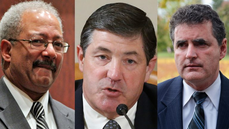 Members of The 113th Congress (from left) Rep. Chaka Fattah, D-Philadelphia; Rep. Jim Gerlach R-Chester County; and Rep. Mike Fitzpatrick R-Bucks County