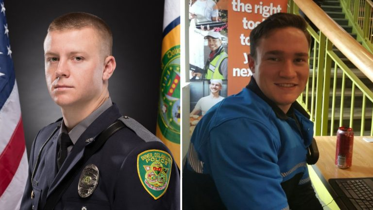 Dover Police Patrolman Robert DaFonte (left) and Cadet James Watts were killed when their Jeep overturned early Sunday morning. (photo courtesy Dover PD)
