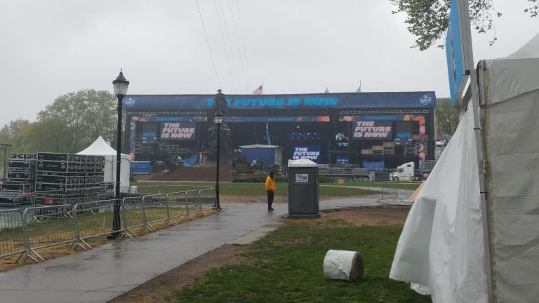 The NFL draft stage could be back for another year. (Tom MacDonald/WHYY)